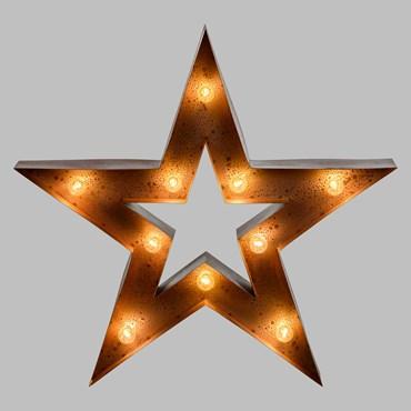 Étoile en métal rouille de 90 cm avec 10 douilles E14, ampoules excluses