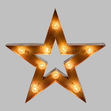 Étoile en métal rouille de 60 cm avec 10 douilles E14, ampoules excluses