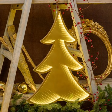 Árbol de Navidad luminoso color champagne doble cara, efecto Infinity Mirror, h. 60 cm, led blanco extra cálido