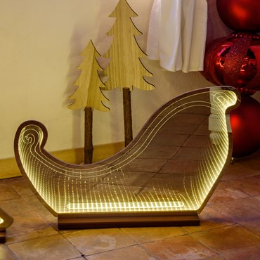49cm Champagne Infinity Mirror Sleigh Lights with Base, SMD Traditional Warm White LEDs