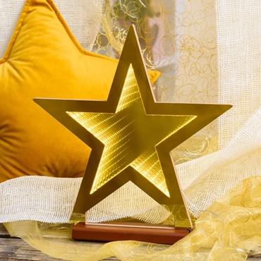 Estrella luminosa con base, efecto Infinity Mirror doble cara, h. 36 cm, led blanco extra cálido