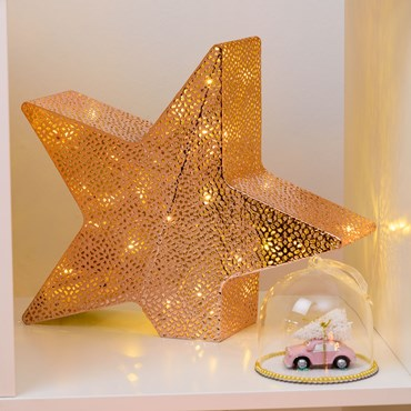 Ø 33 cm, h 28 cm, 24 Warm White LEDs, Copper Perforated Metal Inclined Star, Battery