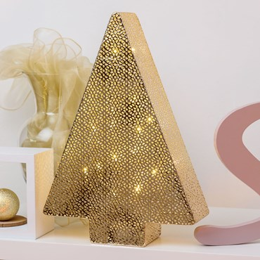 h 38 cm, 30 Warm White LEDs, Champagne Perforated Metal Christmas Tree