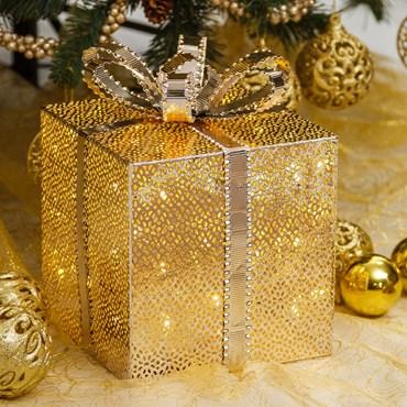 Pacco Regalo Cubico in metallo color champagne, h 25 cm, 40 led bianco caldo, batteria