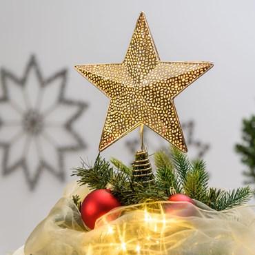 Baumspitze Stern aus Metall in Champagne Farbe Ø 25 cm x h 30 cm, 23 MicroLEDs warmweiß