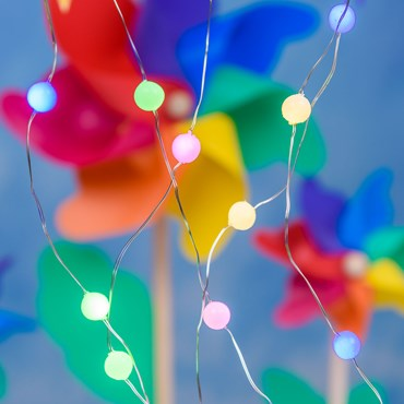 10m, Gummy Mini Spheres String Light, Ø10mm, 100 Multi Coloured MicroLEDs, Silver Metal Wire, Timer