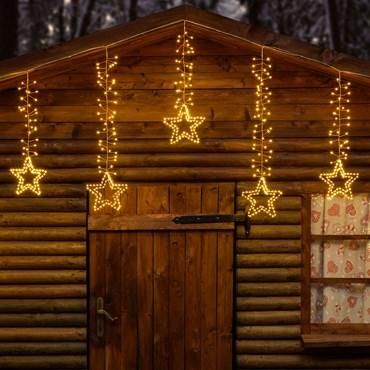 Stalattite decorata con stelle 3,2 x h 0,8 m, 950 microled bianco caldo, cavo metal rame, prolungabile