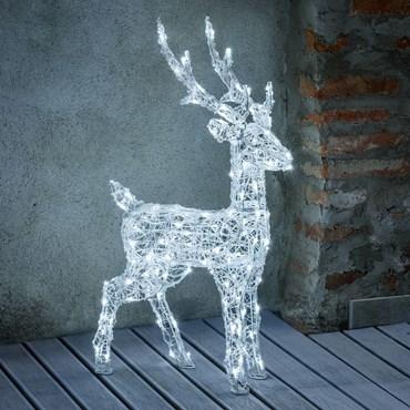Reno 3D acrílico transparente, h. 85 cm, 120 led blanco frío, temporizador