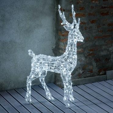 Reno 3D acrílico transparente, h. 105 cm, 180 led blanco frío, temporizador