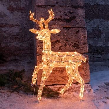 Renna 3D Light Cream & Brown h 85 cm, 160 led bianco extra caldo, timer