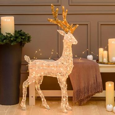 3D Light Cream & Brown Rentier h 105 cm, 200 LEDs Extra Warmweiß, mit Timer