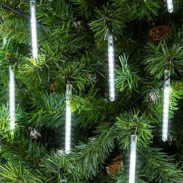 Guirlande 9,5 m, 20 Mini tubes lumineux, 200 led blanc froid, câble vert