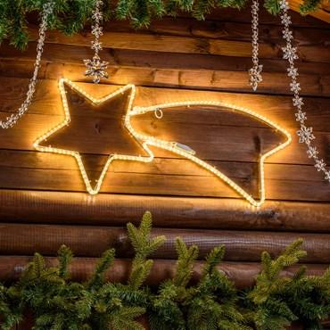 Estrella fugaz tubo ultraluminoso 65 x 28 cm, 192 led blanco cálido