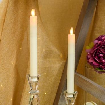 2er Set LED Stabkerzen aus Echtwachs, elfenbeinfarbig, h 23 cm, warmweiß