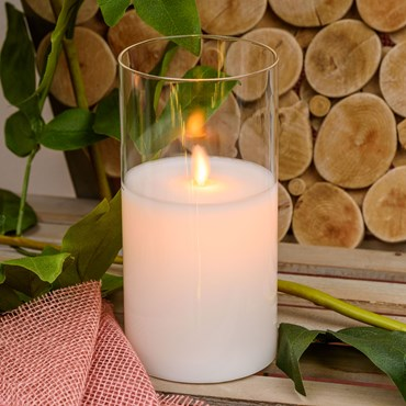 Pillar Candle in clear glass cylinder, white wax, h 20 cm, Ø 10 cm, warm white LED