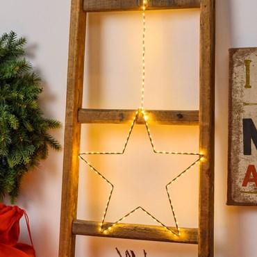 Estrella marrón de metal para colgar Ø 35 cm, 113 micro led blanco cálido, cable cobre
