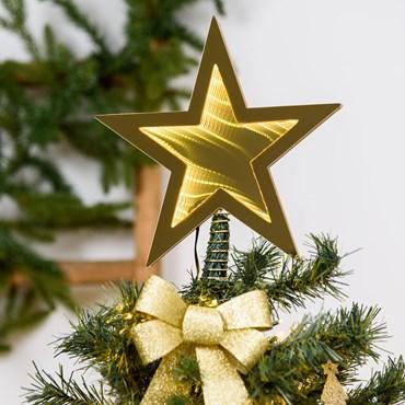 Punta estrella para árbol navideño, efecto Infinity Mirror, Ø 25 cm, led blanco extra cálido