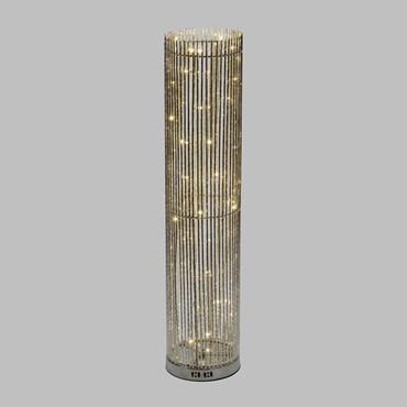 Silberne Säulenvase h 100 cm, 60 LEDs neutralweiß
