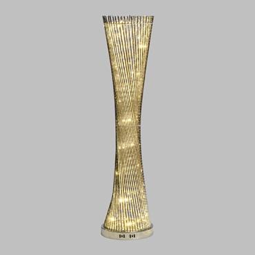 Colonne vase argentée enlacé h 100 cm, 60 led blanc naturel
