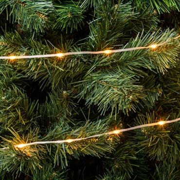 Catena Gocce di Luce da 30 m, 400 Led ultra luminosi bianco extra caldo, cavo trasparente