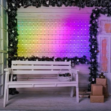 Tenda 3 x h 1 m, 300 Gocce di luce multicolor RGB alta luminosità, 16 effetti Pixel Led, cavo verde