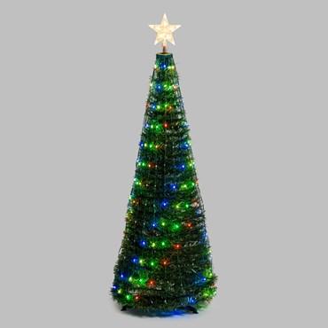 Albero conico ripiegabile in finto pino h. 150 cm, 234 Gocce di luce RGB cambiacolore