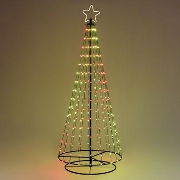 Albero conico ripiegabile con 304 gocce di luce, h 200 cm, pixel led RGB cambiacolore, cavo verde