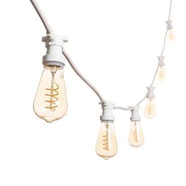 Vintage Lichterkette 5 m mit 16 LED Edison Birnen Ø 64 mm, weißes Kabel, Spiral Filament, 230V, erweiterbar