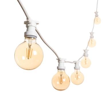 Vintage Lichterkette 5 m mit LED Globo Birnen Ø 95 mm, Spiral Filament, weißes Kabel, dimmbar, 230V, erweiterbar