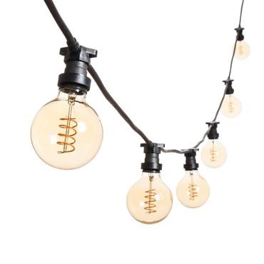 Vintage Lichterkette 5 m mit 16 LED Globo Birnen Ø 95 mm, Spiral Filament, schwarzes Kabel, 230V, erweiterbar