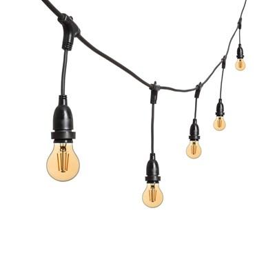 Guirlande Guinguette 5 m ampoules led vintage pendantes goutte dimmables Ø 67 mm, h. 30 cm, câble noir, 230V, prolongeable