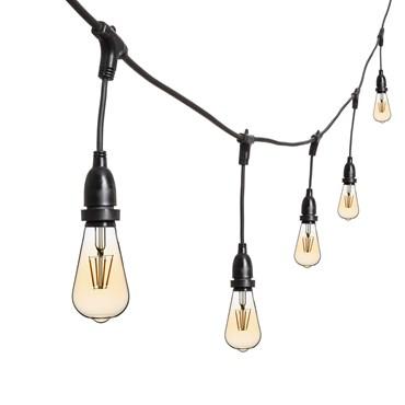 Vintage Lichterkette mit hängenden LED Edison Birnen Ø 64 mm, h. 30 cm, schwarzes Kabel, 230V, erweiterbar