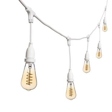 Vintage Lichterkette mit hängenden LED Edison Birnen Ø 64 mm, h. 30 cm, weißes Kabel, 230V, erweiterbar