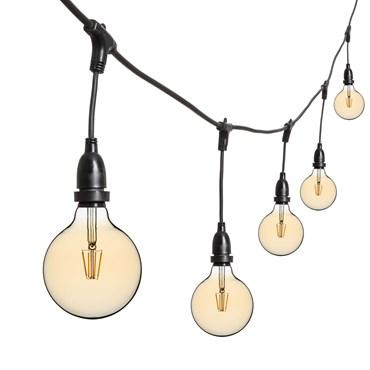 Catena 5 m di lampadine led vintage pendenti a globo dimmerabili Ø 125 mm, h. 30 cm, cavo nero, 230V, prolungabile