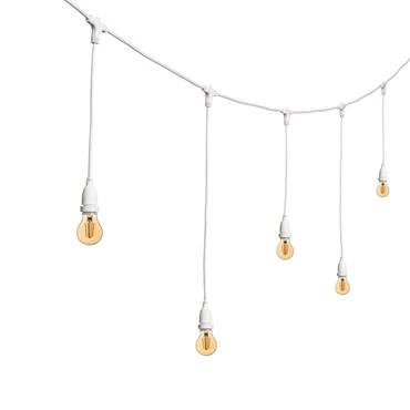 Vintage Lichterkette mit hängenden LED Tropfenbirnen Ø 60 mm, h. 70 cm, weißes Kabel, 230V, erweiterbar