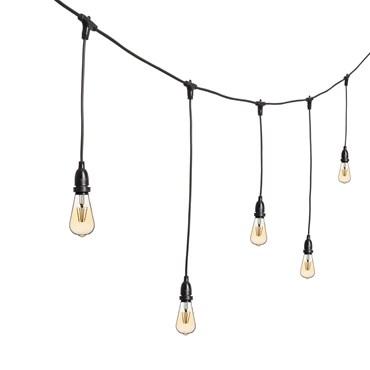 Vintage Lichterkette mit hängenden LED Edison Birnen Ø 64 mm, h. 70 cm, schwarzes Kabel, 230V, erweiterbar