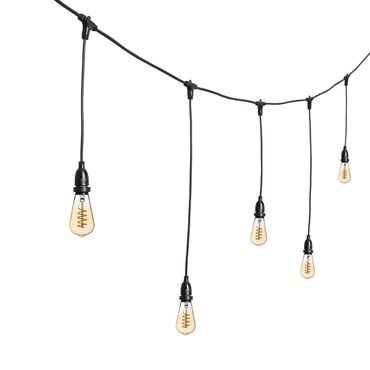 Guirnalda 5m, bombillas Vintage Led colgantes Edison Ø 64mm, filamento espiral, h. 70cm, cable negro, 230V, prolongable