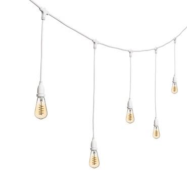 Guirlande Guinguette 5 m ampoules en suspension led Edison vintage Ø 64 mm, filament en spirale, h. 70 cm, câble blanc, 230V, prolongeable