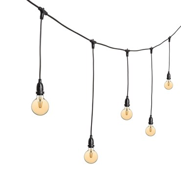 Guirlande Guinguette 5 m ampoules en suspension led vintage globe Ø 95 mm, h. 70 cm, câble noir, 230V, prolongeable