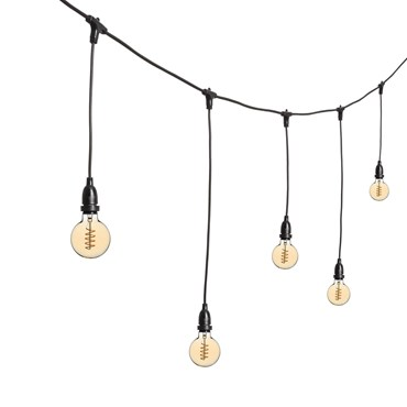 Guirlande Guinguette 5 m ampoules en suspension led vintage globe Ø 95 mm, filament en spirale, h. 70 cm, câble noir, 230V, prolongeable