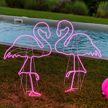Lampe Couple de Flamants roses en tube néon double face h 115 cm, 480 led