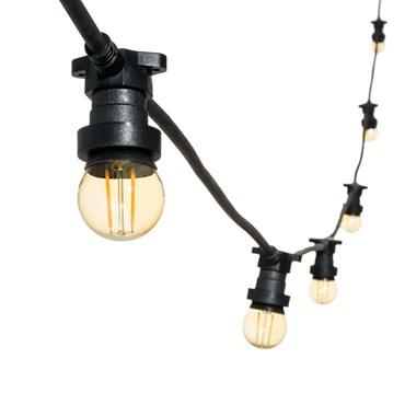 Catena 5 m di lampadine led vintage a globo Ø 45 mm, cavo nero, 230V, prolungabile