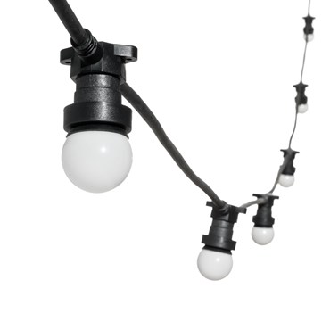 Guirnalda 5m, bombillas Led Globo Ø 45mm, de plástico blanco, cable negro, 230V, prolongable