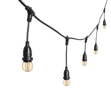 Catena 5 m di lampadine led vintage pendenti a globo Ø 45 mm, h. 30 cm, cavo nero, 230V, prolungabile