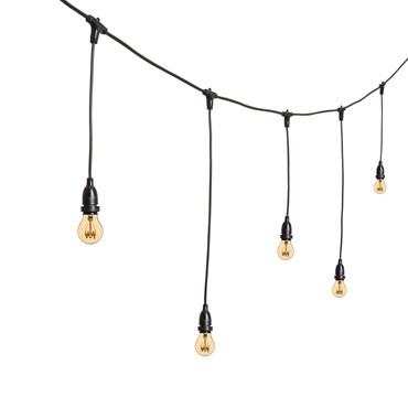 Guirnalda 5m, bombillas Vintage Led colgantes Estándar Ø 60mm, filamento espiral, h. 70cm, cable negro, 230V, prolongable