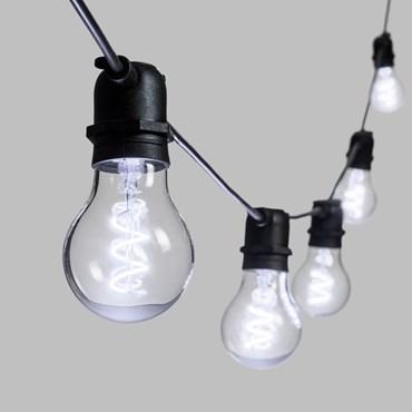 5m Festoon Lights, 10 Spiral E27 Ø6cm Bulb Lights, White, Black Cable, Vintage LED 36V Series