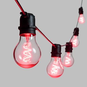 5m Festoon Lights, 10 Spiral E27 Ø6cm Bulb Lights, Red, Black Cable, Vintage LED 36V Series