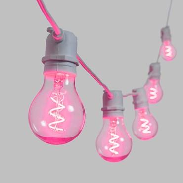 5m Festoon Lights, 10 Spiral E27 Ø6cm Bulb Lights, Pink, White Cable, Vintage LED 36V Series