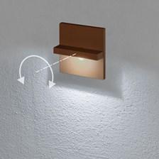 Faro da incasso a parete, segnapasso led bianco freddo, 3 W, color ruggine, orientabile, uso esterno