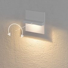 Faro da incasso a parete, segnapasso led bianco caldo, 3 W, color bianco, orientabile, uso esterno